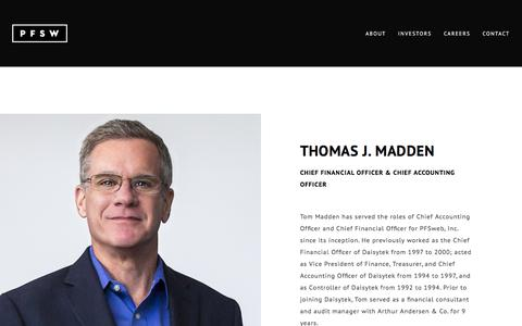 Screenshot of Team Page pfsweb.com - Thomas J. Madden - Chief Financial Officer and Chief Accounting Officer of PFS - captured Feb. 20, 2020