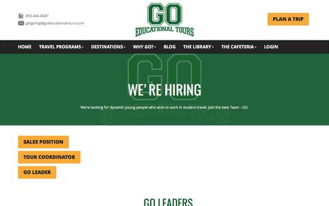 Screenshot of Jobs Page goeducationaltours.com - We're Hiring | GO Educational Tours GO Educational Tours - captured May 13, 2017