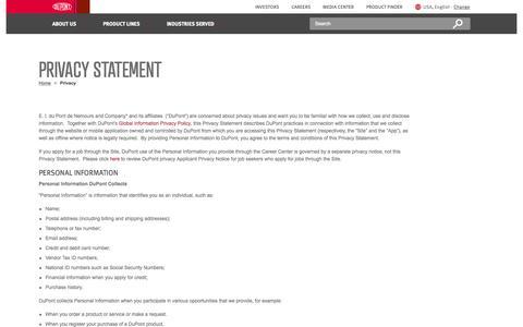 Screenshot of Privacy Page dupont.com - Privacy   DuPont USA - captured Nov. 16, 2015