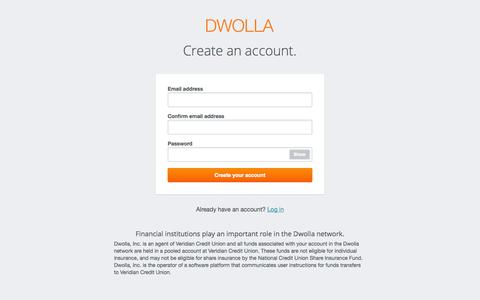Screenshot of Signup Page dwolla.com - Create an account   Dwolla - captured Sept. 15, 2014
