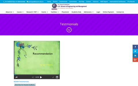 Screenshot of Testimonials Page kssem.edu.in - Testimonials | K.S School of Engineering and Management - captured Oct. 14, 2018