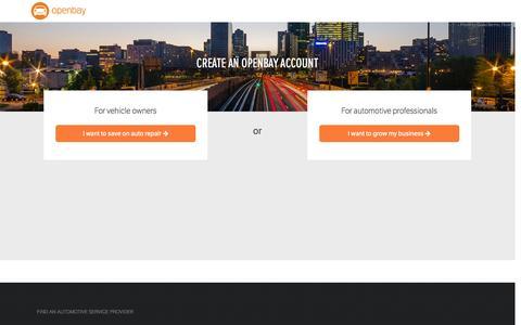 Screenshot of Signup Page openbay.com captured June 16, 2015