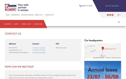 Screenshot of Contact Page bambormet.be - Contact us - captured July 6, 2018