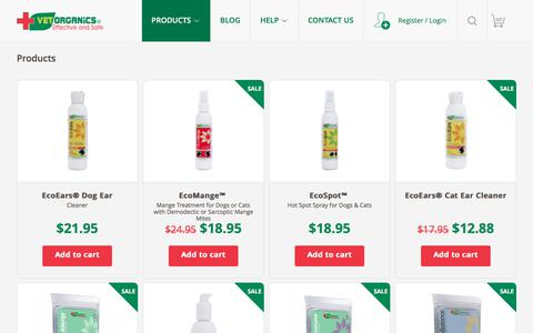 Screenshot of Products Page vet-organics.com - Products : Dog Ear Cleaning Solution | Hot Spot Spray For Dogs | Ecoears Dog Ear Cleaner | Home Remedies For Mange | Demodectic Mange - captured June 12, 2017