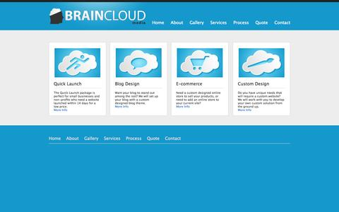 Screenshot of Services Page braincloudmedia.com - E-commerce, website development, website design, Dayton, Ohio - Brain Cloud Media - captured Sept. 30, 2014