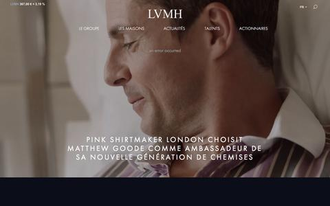 Screenshot of Home Page lvmh.fr - LVMH, leader mondial des produits de haute qualité - captured Sept. 4, 2019