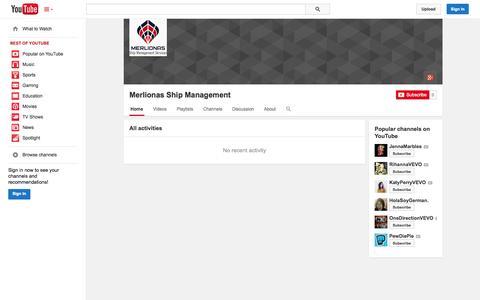 Screenshot of YouTube Page youtube.com - Merlionas Ship Management  - YouTube - captured Nov. 3, 2014