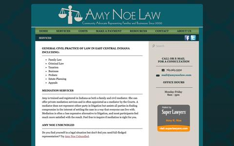 Screenshot of Services Page amynoelaw.com - Services | Amy Noe Law | Community Advocate in Richmond, Indiana - captured Sept. 30, 2014