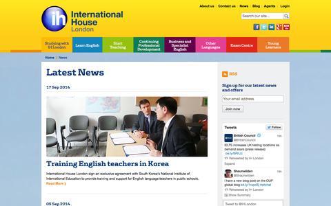 Screenshot of Press Page ihlondon.com - Latest News   International House London - captured Sept. 25, 2014