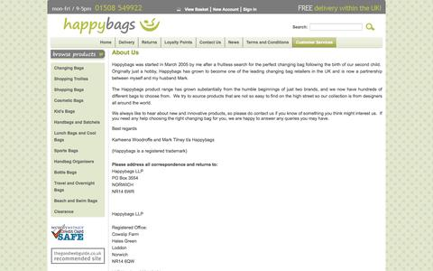 Screenshot of About Page happybags.co.uk - About Us | Free UK Delivery | Happybags - captured Oct. 2, 2014