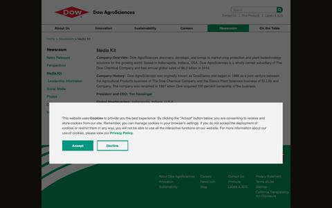 Screenshot of Press Page dowagro.com - Media Kit | Dow AgroSciences - captured Oct. 20, 2018