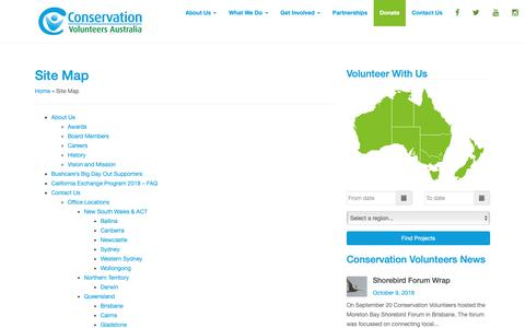 Screenshot of Site Map Page conservationvolunteers.com.au - Site Map - Conservation Volunteers Australia - captured Oct. 24, 2018