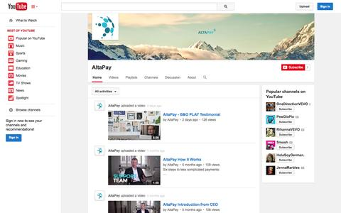 Screenshot of YouTube Page youtube.com - AltaPay  - YouTube - captured Oct. 23, 2014