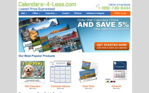 Screenshot of Home Page calendars-4-less.com - Calendars-4-Less.com | Promotional Calendars, Custom Calendars, Calendars Imprinted with your Logo - captured Aug. 31, 2015