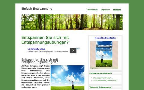 Screenshot of Home Page einfach-entspannung.de - Einfach Entspannung - Wie entspannen Ihr Leben verbessert. - captured June 10, 2016