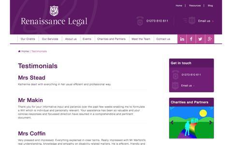Screenshot of Testimonials Page renaissancelegal.co.uk - Testimonials - captured Aug. 13, 2016