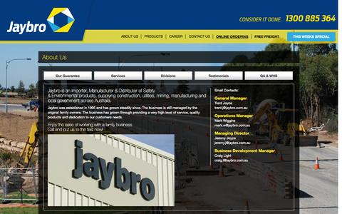 Screenshot of About Page jaybro.com.au - About Jaybro | Jaybro Civil & Safety Products - captured Oct. 6, 2014