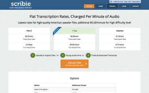 Screenshot of Pricing Page scribie.com - Scribie Audio/Video Transcription | Rates starting at $0.75/min - captured Oct. 16, 2016