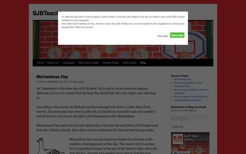 Screenshot of Blog sjbteaching.com - Blog | SJBTeaching - captured Oct. 4, 2017