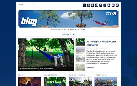 Screenshot of Blog eaglesnestoutfittersinc.com - ENO blog — Welcome to the world of ENOpia! - captured Sept. 19, 2014