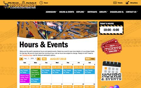 Screenshot of Hours Page diggerlandusa.com - Hours of Operation & Special Events | Diggerland - captured Aug. 7, 2018