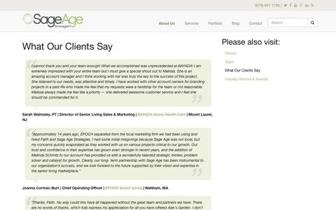 Screenshot of sageagestrategies.com - What Our Clients Say | Sage Age Strategies - captured March 19, 2016