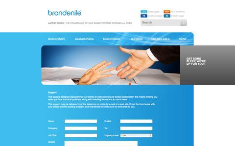 Screenshot of Support Page brandenite.com - Brandenite Corporation | Support - captured Sept. 30, 2014