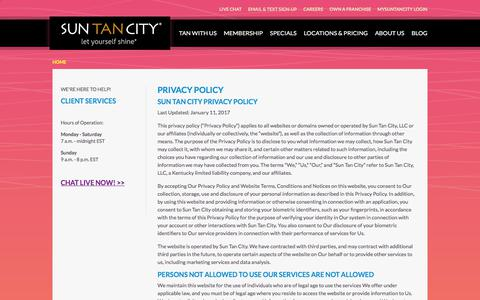 Screenshot of Privacy Page suntancity.com - Privacy Policy - captured June 21, 2018
