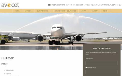 Screenshot of Site Map Page avocet.aero - Sitemap - Avocet Aviation Services, LLC - captured Oct. 9, 2017