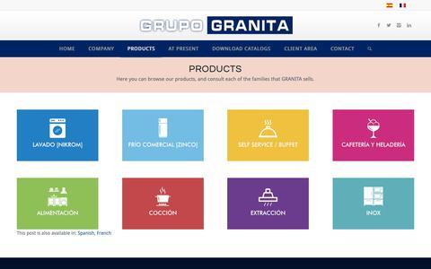 Screenshot of Products Page grupogranita.com - Productos | Grupo Granita | Maquinaria hostelería y restauración - captured Sept. 26, 2018