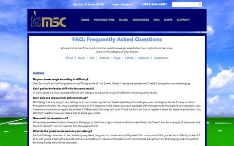 Screenshot of FAQ Page msconcepts.com - FAQ - captured Nov. 3, 2014