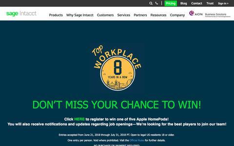 Screenshot of Jobs Page sageintacct.com - Let's Work Together! Explore Careers at Sage Intacct - captured July 11, 2018
