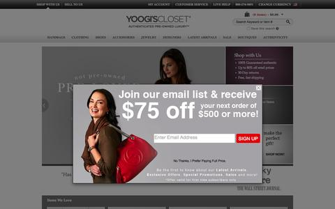 Screenshot of Home Page yoogiscloset.com - Buy, Sell & Consign Used Designer Luxury Items - Yoogi's Closet - captured Oct. 1, 2015
