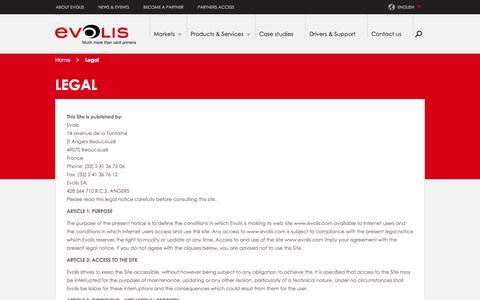 Screenshot of Terms Page evolis.com - Legal notices | Evolis - captured Sept. 19, 2014