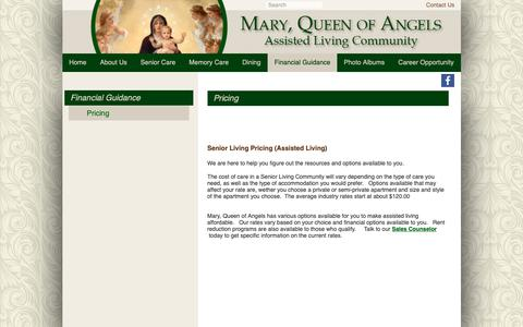 Screenshot of Pricing Page maryqueenofangels.com - Pricing | Mary, Queen of Angels Assisted Living | Nashville, TN - captured Oct. 31, 2018