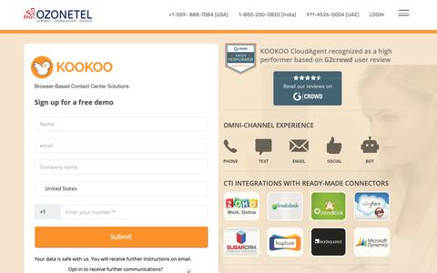Screenshot of Signup Page ozonetel.com - Cloud Communication Solutions demo, Call Center Software demo-Ozonetel - captured March 22, 2019