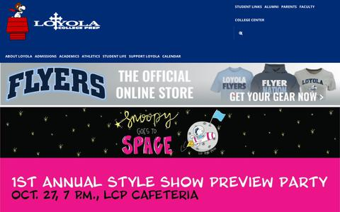 Screenshot of Home Page loyolaprep.org - Home - Loyola College Prep - captured Sept. 30, 2018