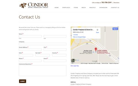 Screenshot of Contact Page Maps & Directions Page condorfireplace.com - Contact Us | Condor Fireplace - captured Oct. 23, 2014