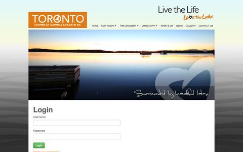Screenshot of Login Page toronto.com.au - Login / User - Toronto Chamber of Commerce & Industry - captured Oct. 7, 2014