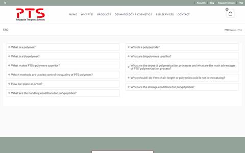 Screenshot of FAQ Page pts-polymers.com - FAQ | PTS Polymers - captured Nov. 2, 2014