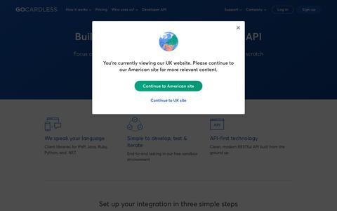 Screenshot of Developers Page gocardless.com - GoCardless for developers - GoCardless - captured Sept. 9, 2019