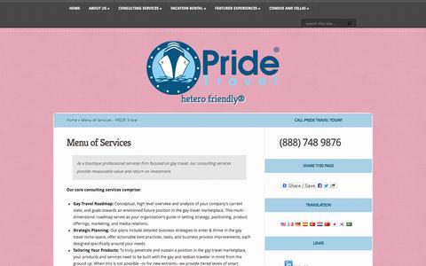Screenshot of Services Page pride.travel - Menu of Services - PRIDE Travel | PRIDE Travel - captured Oct. 3, 2014