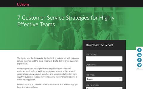 Screenshot of Landing Page lithium.com - 7 Customer Service Strategies for Highly Effective Teams | Lithium Resources - captured March 21, 2016
