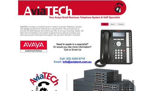Screenshot of Home Page aviatech.com.au - AviaTech - Avaya Business Telephone Systems - captured Feb. 6, 2016
