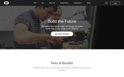 Screenshot of Jobs Page oculus.com - Careers | Oculus - captured Nov. 21, 2017