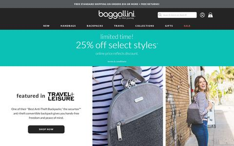 Screenshot of Home Page baggallini.com - travel bags for women | handbags & purses | baggallini® - captured July 12, 2019