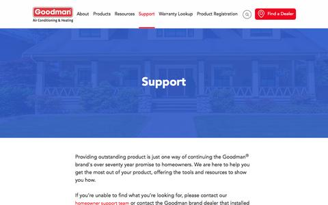 Screenshot of Support Page goodmanmfg.com - Get Support For Goodman Manufacturing Products - captured Sept. 1, 2016