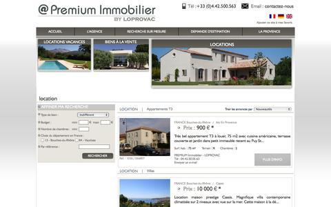 Screenshot of Locations Page premium-villas-provence.com - Premium villas Provence - Biens immobiliers en location villas, mas, bastides, appartements, appartements t3, appartements t2, studios et t1, maisons de villages / villes, bureaux, locaux, commerces, terrains, appartements t4, chalets, appartements t - captured Oct. 2, 2014