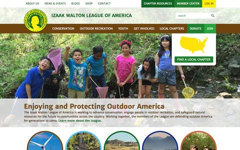 Screenshot of Home Page iwla.org - Izaak Walton League- national conservation organization - captured Sept. 26, 2015