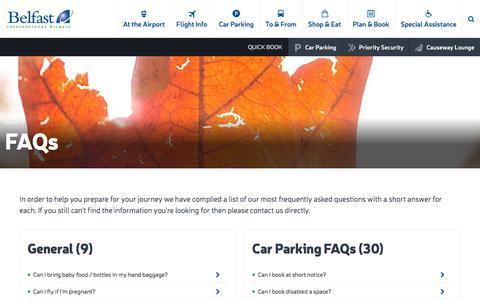 Screenshot of FAQ Page belfastairport.com - FAQs | Belfast International Airport - captured Oct. 10, 2017